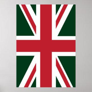 Cool Dark Green Red Union Jack British(UK) Flag Poster