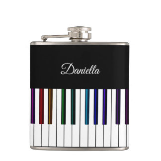 Cool Dark Psychedelic Piano Keyboard Music Flask