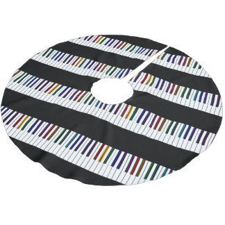 Cool Dark Psychedelic Piano Keys Brushed Polyester Tree Skirt