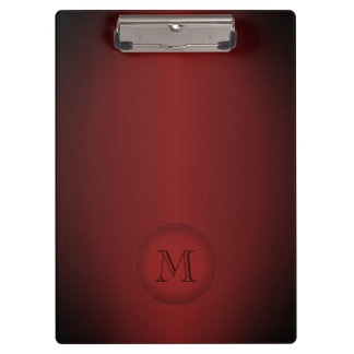 Cool Dark Red Gradient Monogram Clipboard