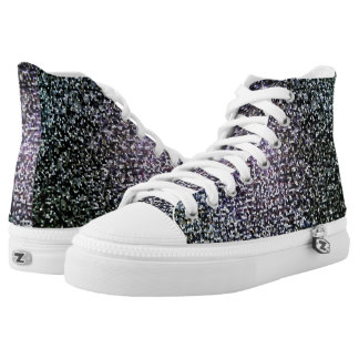 Cool Dark Silver Stained Glass Mosaic Pattern High Tops