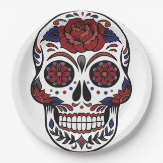 Cool Day of the dead skull in burgundy and blue Paper Plate