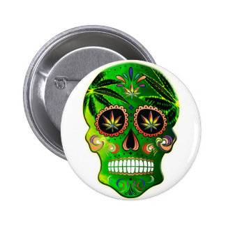 Cool Day of the Dead Sugar Skull Weed 6 Cm Round Badge