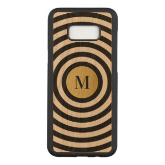 Cool Designer Black Stripe Pattern Gold Monogram Carved Samsung Galaxy S8+ Case