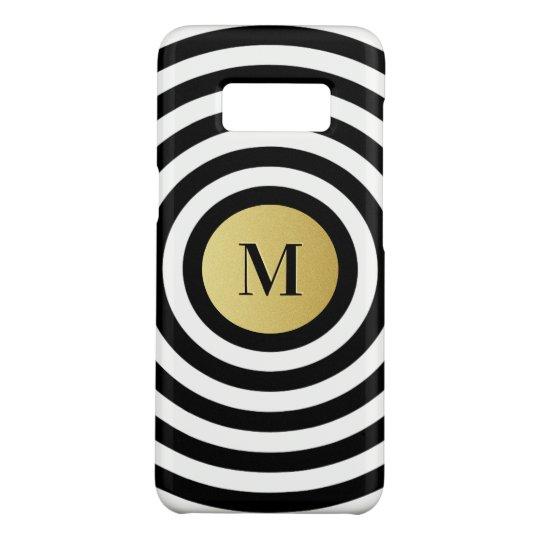Cool Designer Black Stripe Pattern Gold Monogram Case-Mate Samsung Galaxy S8 Case