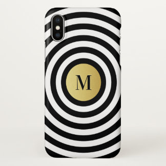 Cool Designer Black Stripe Pattern Gold Monogram iPhone X Case