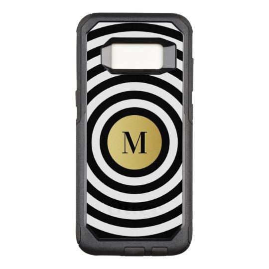 Cool Designer Black Stripe Pattern Gold Monogram OtterBox Commuter Samsung Galaxy S8 Case