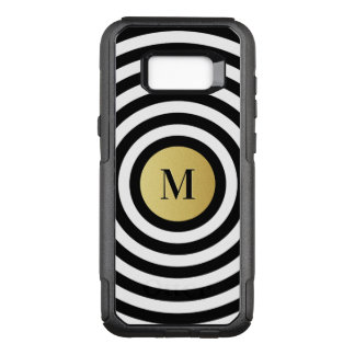 Cool Designer Black Stripe Pattern Gold Monogram OtterBox Commuter Samsung Galaxy S8+ Case