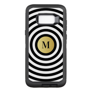 Cool Designer Black Stripe Pattern Gold Monogram OtterBox Defender Samsung Galaxy S8+ Case