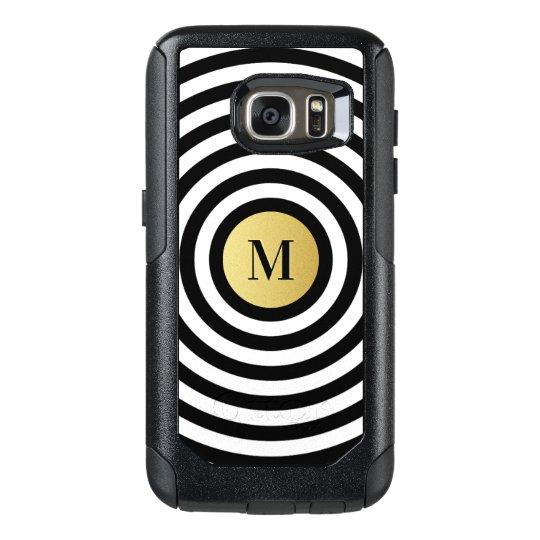 Cool Designer Black Stripe Pattern Gold Monogram OtterBox Samsung Galaxy S7 Case