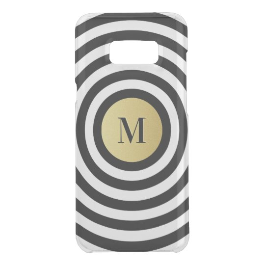 Cool Designer Black Stripe Pattern Gold Monogram Uncommon Samsung Galaxy S8 Plus Case