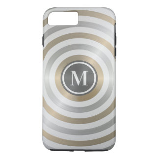 Cool Designer Metal Stripe Pattern Grey Monogram iPhone 8 Plus/7 Plus Case