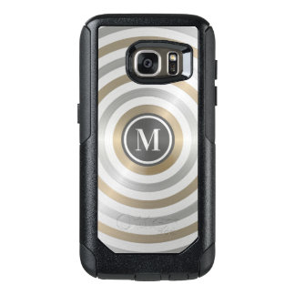 Cool Designer Metal Stripe Pattern Grey Monogram OtterBox Samsung Galaxy S7 Case
