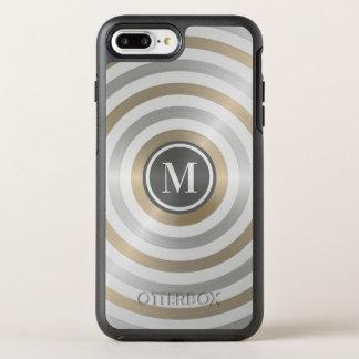 Cool Designer Metal Stripe Pattern Grey Monogram OtterBox Symmetry iPhone 8 Plus/7 Plus Case