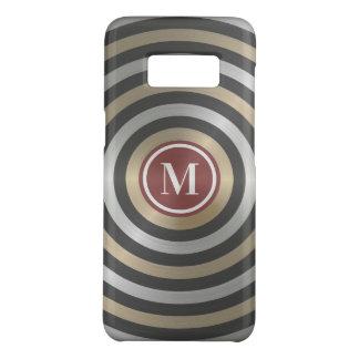 Cool Designer Silver Gold Stripe Pattern Monogram Case-Mate Samsung Galaxy S8 Case