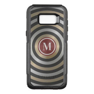 Cool Designer Silver Gold Stripe Pattern Monogram OtterBox Commuter Samsung Galaxy S8+ Case