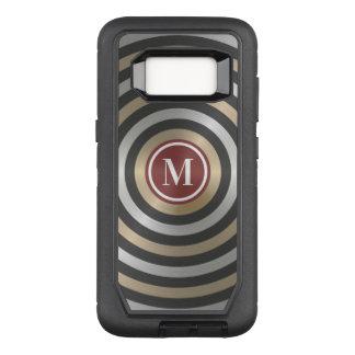 Cool Designer Silver Gold Stripe Pattern Monogram OtterBox Defender Samsung Galaxy S8 Case