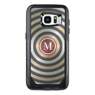 Cool Designer Silver Gold Stripe Pattern Monogram OtterBox Samsung Galaxy S7 Edge Case
