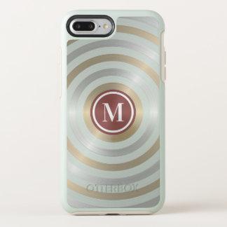 Cool Designer Silver Gold Stripe Pattern Monogram OtterBox Symmetry iPhone 8 Plus/7 Plus Case