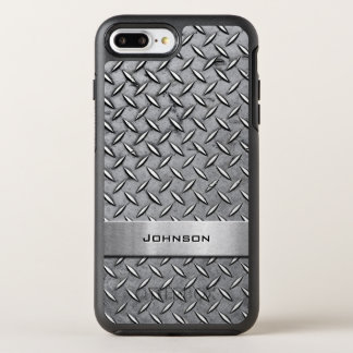 Cool Diamond Cut Silver Metallic Manly Look OtterBox Symmetry iPhone 7 Plus Case