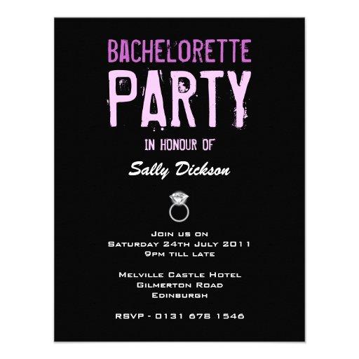 Cool Diamond Ring Bachelorette Party Invitation