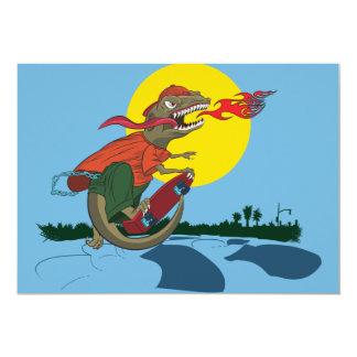 "Cool Dinosaur Kid on Skateboard by Rich Patric 5"" X 7"" Invitation Card"