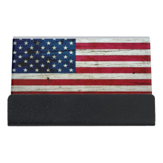 Cool Distressed American Flag Wood Rustic Desk Business Card Holder