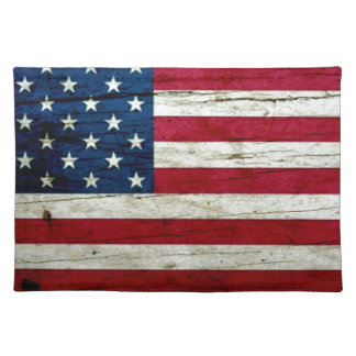 Cool Distressed American Flag Wood Rustic Placemat