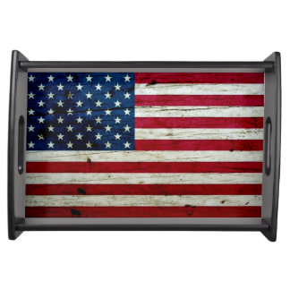Cool Distressed American Flag Wood Rustic Serving Tray