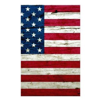 Cool Distressed American Flag Wood Rustic Personalised Stationery