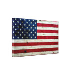 Cool Distressed American Flag Wood Rustic Stretched Canvas Print