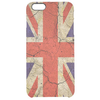 Cool Distressed Union Jack English Flag Clear iPhone 6 Plus Case