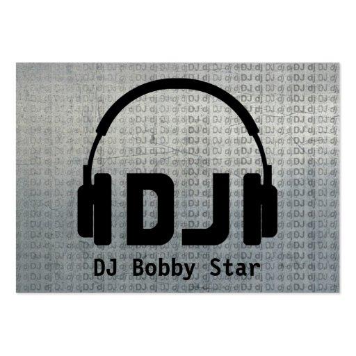 Cool dj headphone logo metalic business card