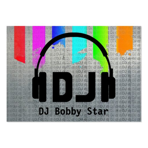 Cool DJ Headphone Logo metalic Rainbow Business Card Templates