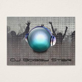 Cool dj metalic business card with 3D DJ logo.