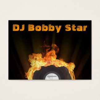Cool dj vinyl on fire business card