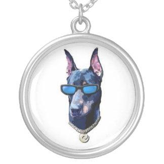 Cool Doberman Round Pendant Necklace