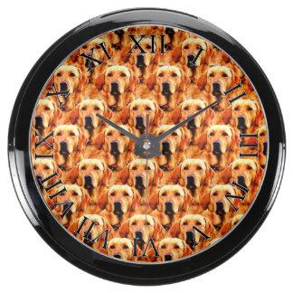 Cool Dog Art Doggie Golden  Retriever Abstract Aqua Clock