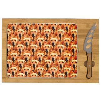 Cool Dog Art Doggie Golden  Retriever Abstract Rectangular Cheeseboard
