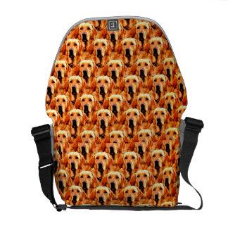 Cool Dog Art Doggie Golden  Retriever Abstract Messenger Bags