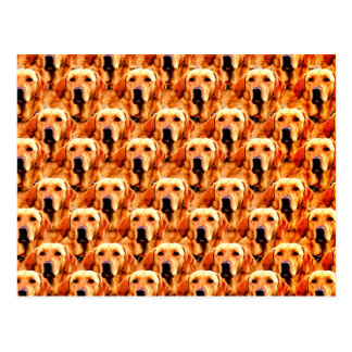 Cool Dog Art Doggie Golden  Retriever Abstract Postcard