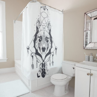 cool dog design art shower curtain