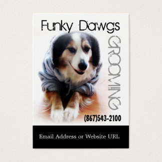 Cool Dog Grooming Aussie in Hoodie Business Card