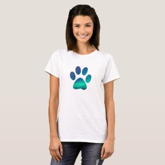 Cool Dog Pawprint, Northern Winter Lights T-Shirt