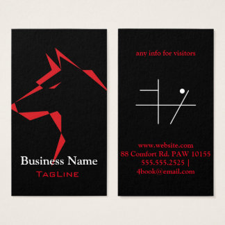 cool dog Red on Black Business Card
