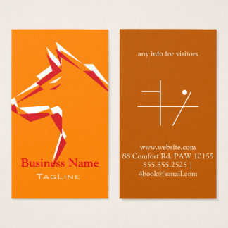 cool dog White+Red on Orange Business Card