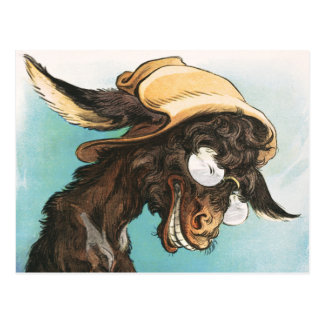 Cool donkey wearing glasses and hat postcard