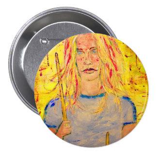 cool drummer girl buttons