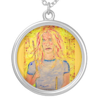 cool drummer girl round pendant necklace