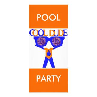 COOL DUDE COMPANY POOL PARTY INVITATION 10 CM X 23 CM RACK CARD